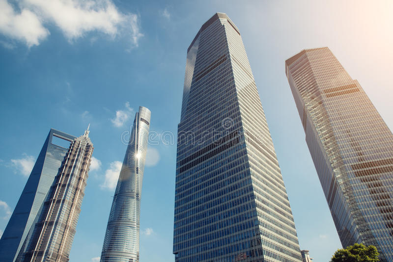 Shanghai skyscraper in Lujiazui in Shanghai, China. Shanghai skyscraper in Lujiazui Shanghai financial district in Shanghai, China royalty free stock photos