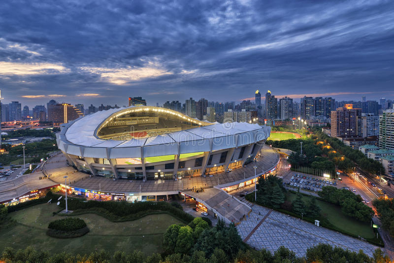 Shanghai Stadium. Is multiple purpose stadium which is mostly used for football matches and concert royalty free stock photos