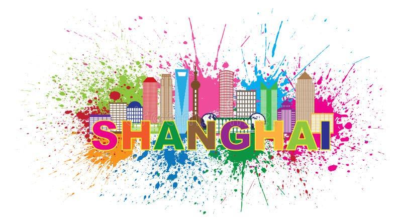 Shanghai-Stadt-Skyline-Farbe plätschern Vektor-Illustration vektor abbildung