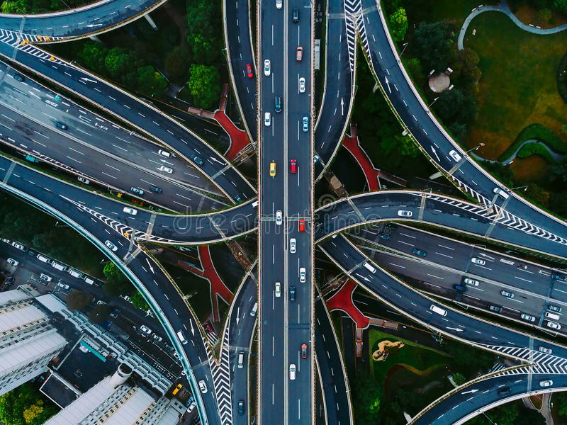 Download Shanghai Streets And Intersections From Above Stock Image - Image of road, clouds: 110797469