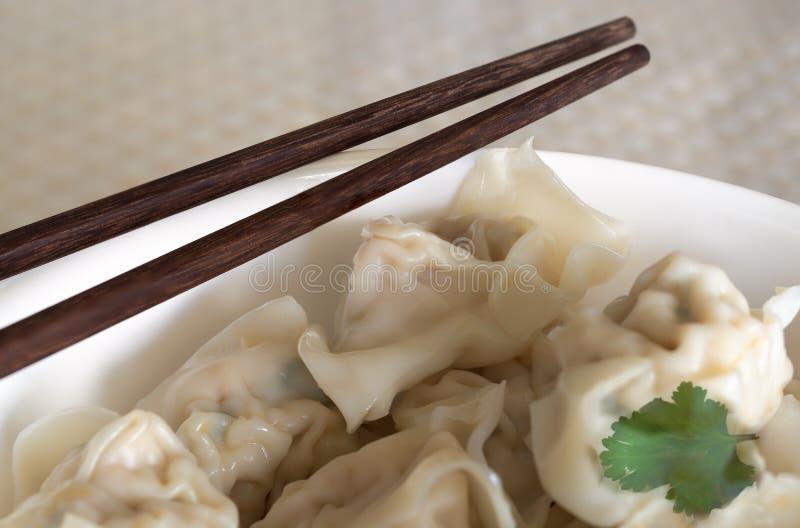 Shanghai style wonton dumplings in bowl royalty free stock images