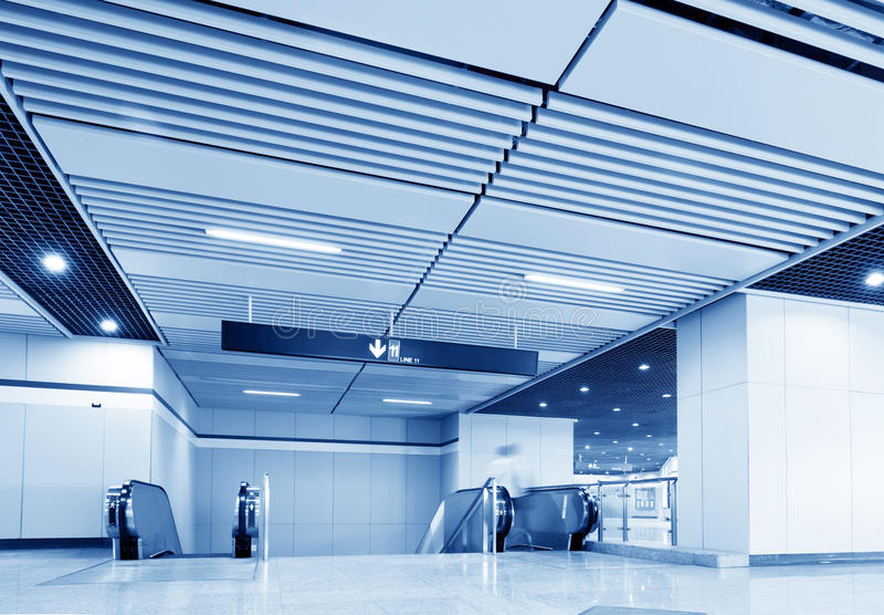 Shanghai subway station of the hall stock photography