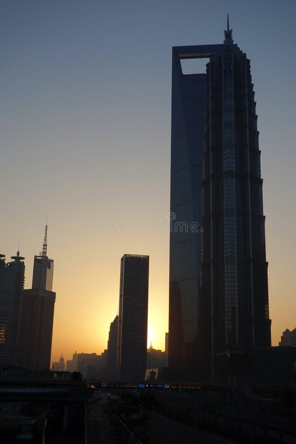 Shanghai at sunrise stock photos