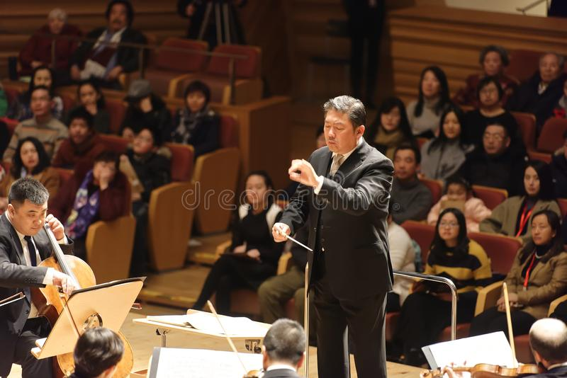 A symphony performance in a concert hall stock photography