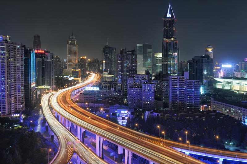 Shanghai Traffic at Night royalty free stock photography