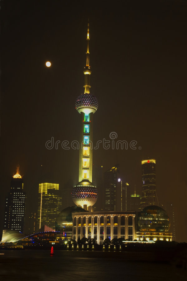 Download Shanghai TV Tower at night stock image. Image of buildings - 6318691