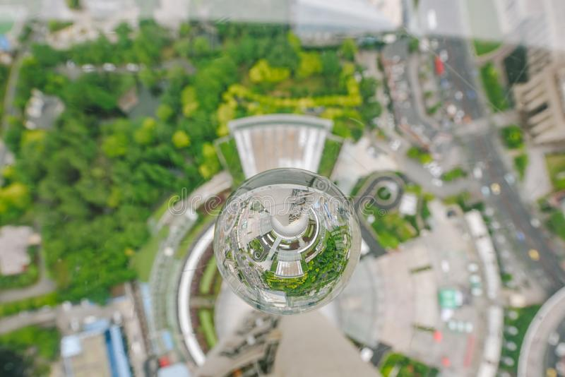 Shanghai view from the Oriental Pearl building. SHANGHAI, CHINA - MAY 07, 2016: Shanghai view from the Oriental Pearl TV Tower royalty free stock photography