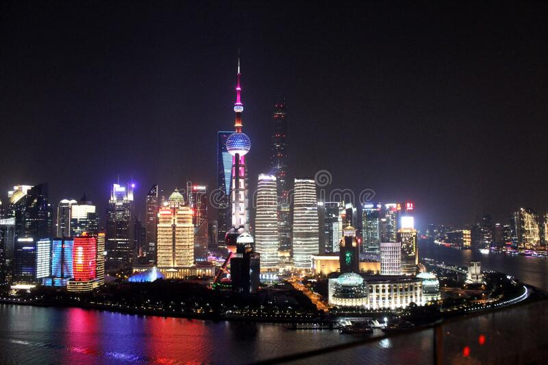 Shanghai views by night royalty free stock images
