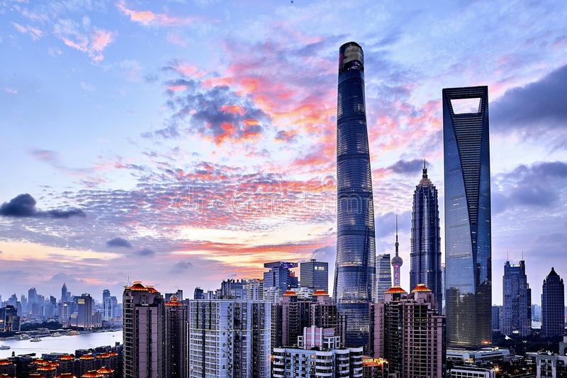 Shanghai waitan lujiazui sunset royalty free stock photos