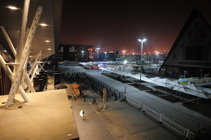 The 2010 Shanghai World Expo Night. ,The crowd dispersed, desolate stock photography