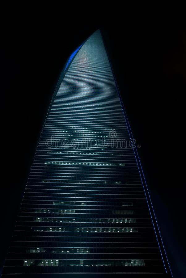Shanghai world financial center. Night view stock photos