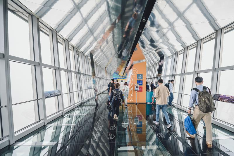 Shanghai World Financial Center building Observatory. SHANGHAI, CHINA - MAY 07, 2016: Tourists in Shanghai World Financial Center building Observatory stock photography