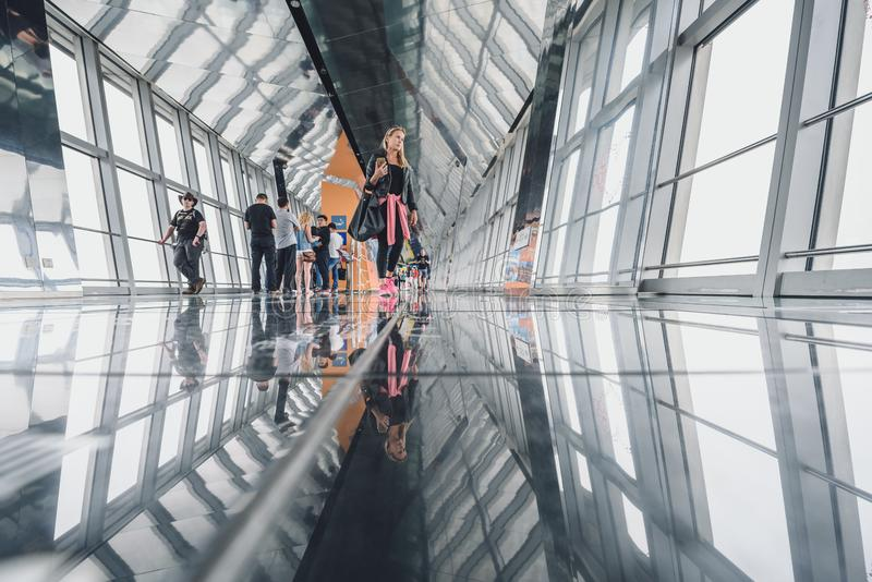 Shanghai World Financial Center building Observatory. SHANGHAI, CHINA - MAY 07, 2016: Tourists in Shanghai World Financial Center building Observatory royalty free stock images