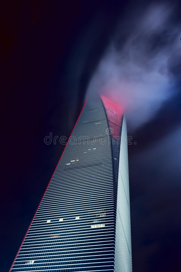 The Shanghai World Financial Center. Shanghai, China -Oct 3, 2015: The Shanghai World Financial Center is a supertall skyscraper located in the Pudong district royalty free stock image