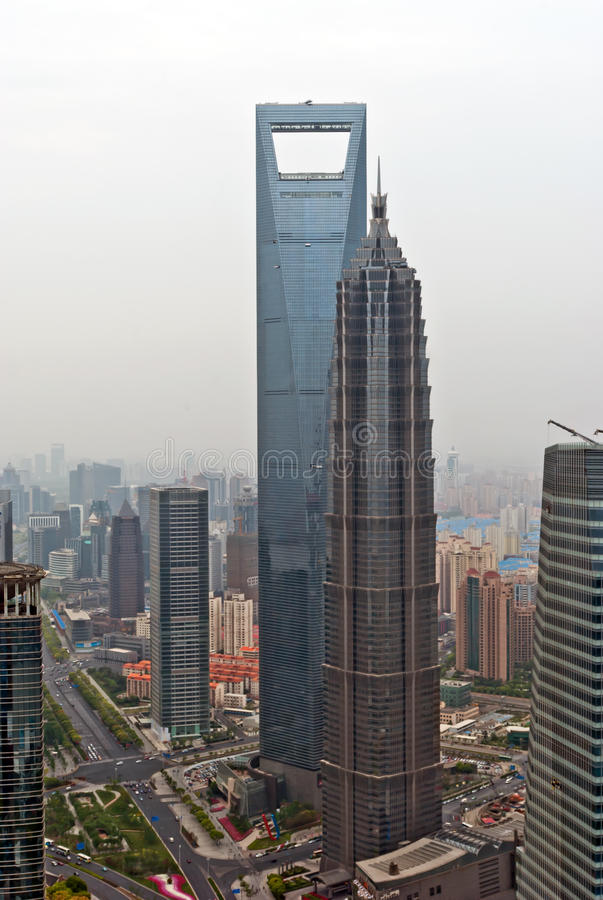 Shanghai World Financial Center and Jin Mao Tower. View from Oriental Pearl Tower stock photo