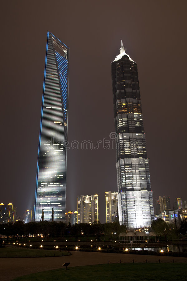 Shanghai World Financial Center And Jin Mao Tower Stock Photo