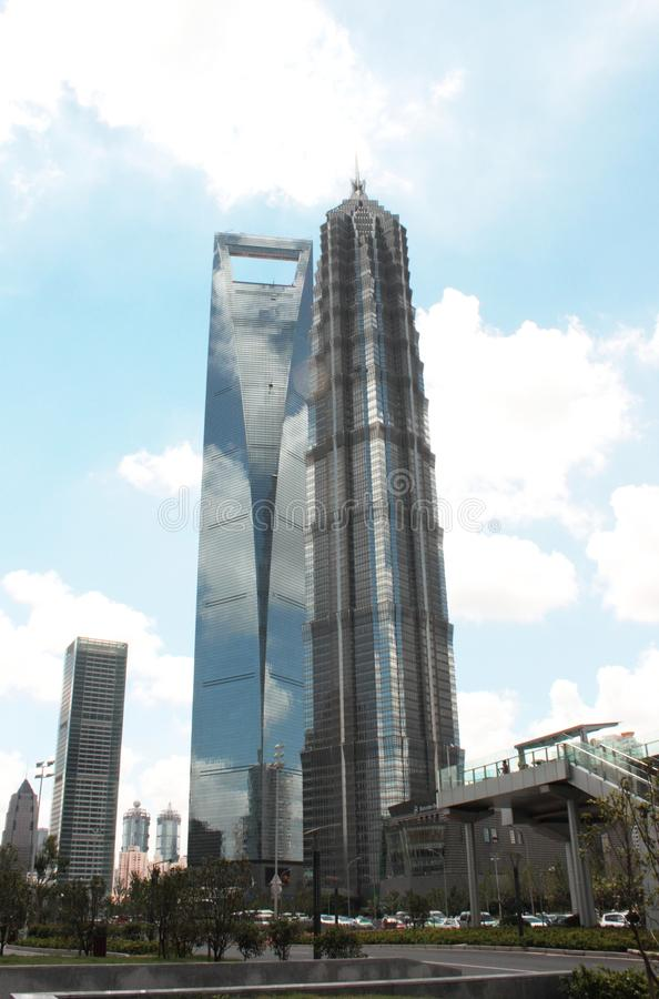 Shanghai World Financial Center and Jinmao. Skyscrapers in a modern business part of Shanghai city in China - famous Shanghai World Financial Center tower and stock image