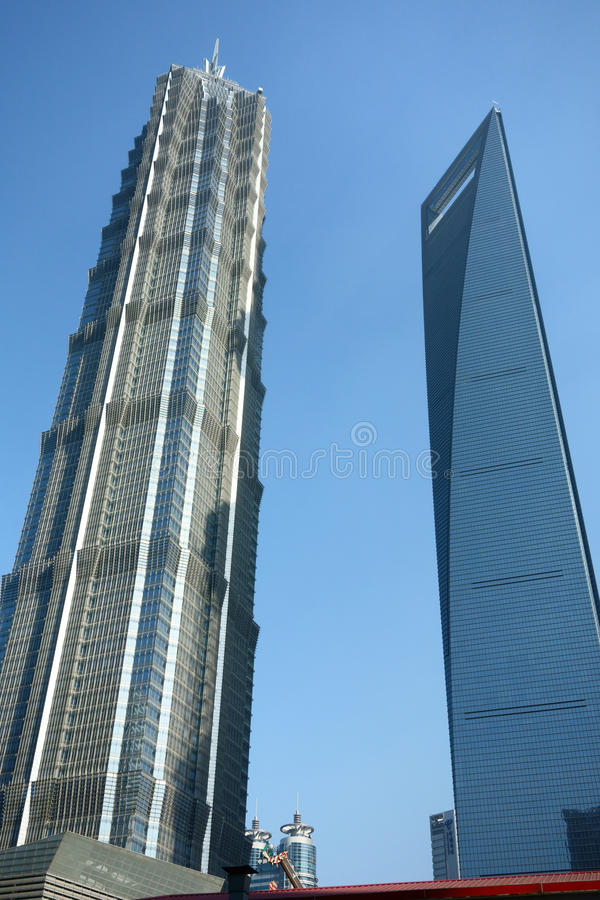 Shanghai world financial center and jinmao tower. Lujiazui,Pudong, Shanghai, China royalty free stock photo