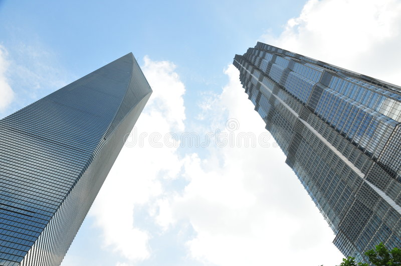 Shanghai World Financial Center and Jinmao Tower. Pudong, Shanghai, China, North-East Asia stock photo