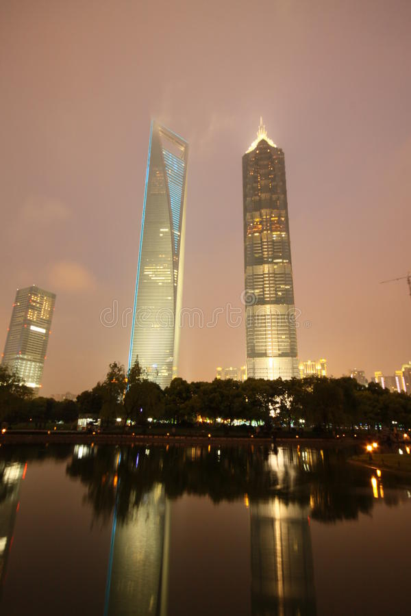 Shanghai World Financial Center and Jinmao Tower. The night view of shanghai world financial center and Jinmao Tower royalty free stock images