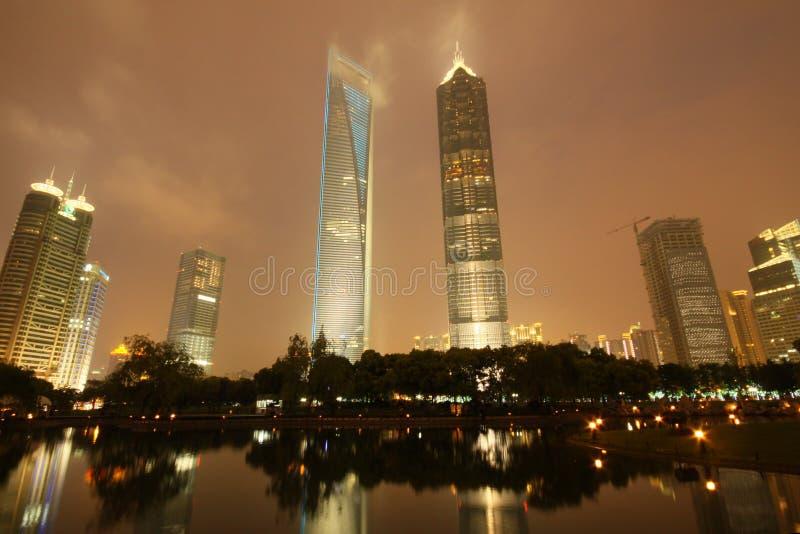 Shanghai World Financial Center and Jinmao Tower. The night view of shanghai world financial center and Jinmao Tower stock image