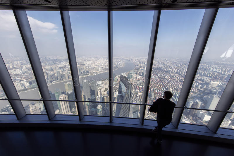Shanghai World Financial Center seen from Shanghai Tower stock photo