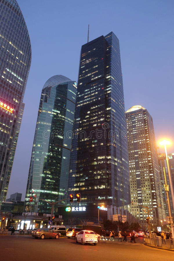 Shanghai world financial center. Skyscrapers in Lujiazui group in Shanghai, China stock photo