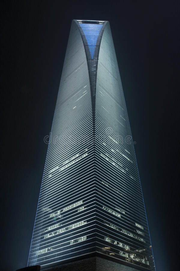 Shanghai World Financial Centre at night, China. SHANGHAI – MARCH 26, 2009. Shanghai World Financial Center SWFC at night time on March 26, 2009. SWFC at stock image
