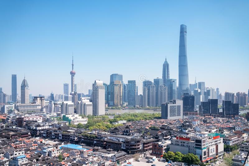 Shanghai yuyuan garden and pudong skyline royalty free stock images