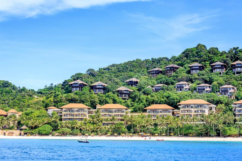 Shangri La Boracay Resort and Spa from the water in Boracay Island. BORACAY ISLAND, PHILIPPINES - November 18, 2017 : Shangri La Boracay Resort and Spa from the royalty free stock image