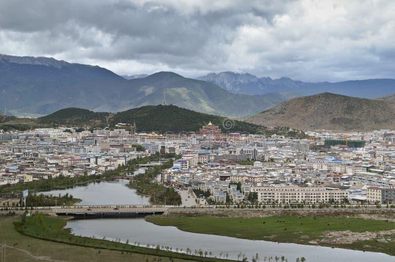 Shangri-La, China. Shangri-La with surrounding mountins, Yunnan,China royalty free stock photography