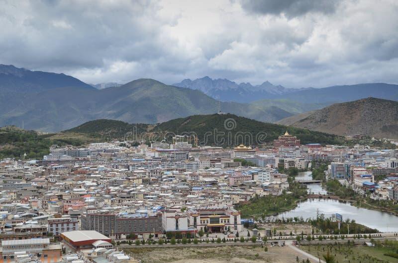 Shangri-La, China. Shangri-La with surrounding mountins, Yunnan,China royalty free stock image