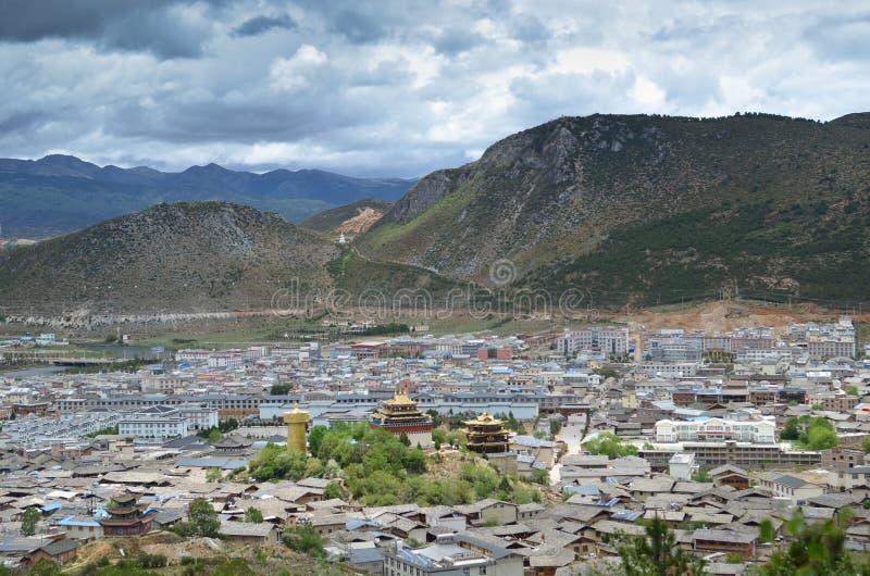 Shangri-La, China. Shangri-La with surrounding mountins, Yunnan,China stock images