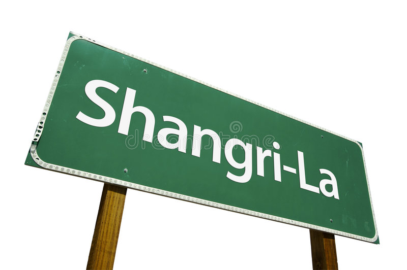 Shangri-La road sign. Isolated on a white background. Contains Clipping Path stock images