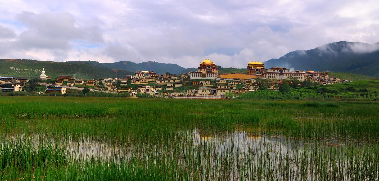 Shangri-La - Songzanlin temple. Tibetan Buddhist Temple, a temple library, located in the Shangri-La in Yunnan Province China stock image