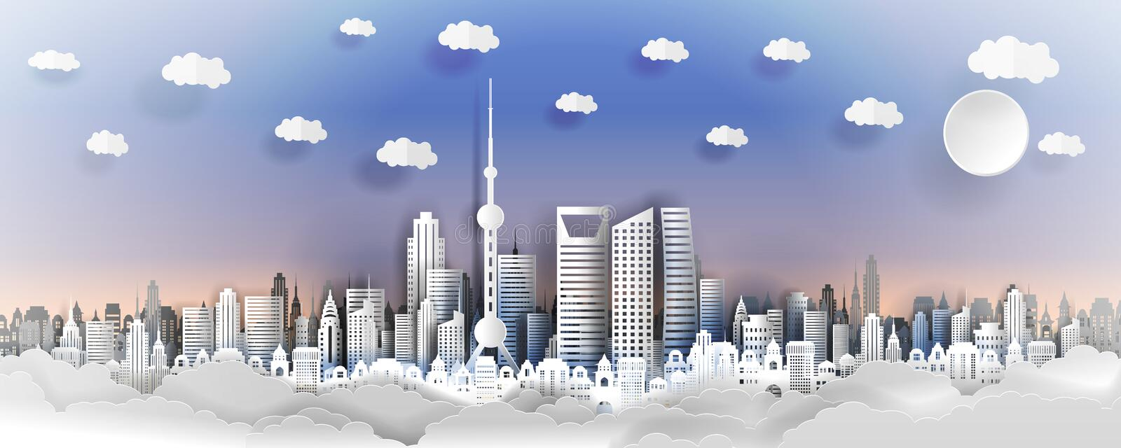 Shanhai city concept, China. Paper art city on back with buildings, towers, clouds. royalty free illustration
