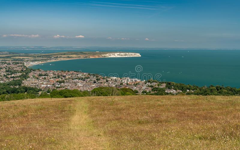 Shanklin and Sandown from Shanklin Down, Isle of Wight royalty free stock photos