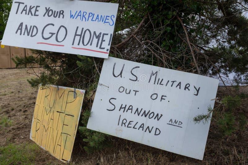 Shannon, Ireland, June. 5, 2019: Anti Trump visit signs at Shannon Airport, Ireland royalty free stock image