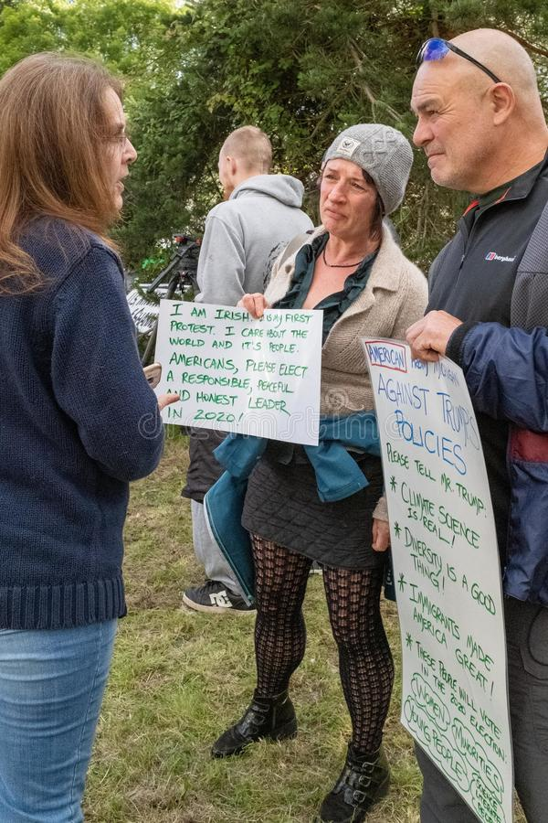Shannon, Ireland, June. 5, 2019: Protestors talking about the  protest against Donald Trump`s visit at Shannon Airport, Ireland stock photo