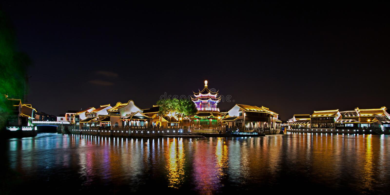 Shantang alla notte, Suzhou, Cina fotografia stock
