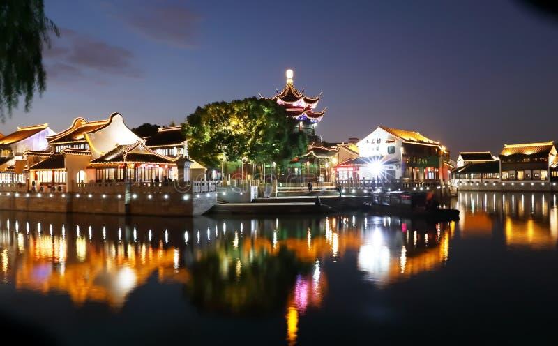 Night of Suzhou city, Jiangsu, China stock photo