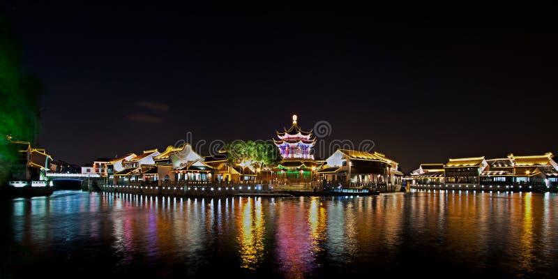 Shantang przy nocą, Suzhou, Chiny zdjęcie stock