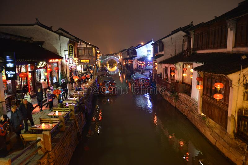 The night scene of Shantang Street Seven-Li Shantang in Suzhou, Jiangsu, China stock images