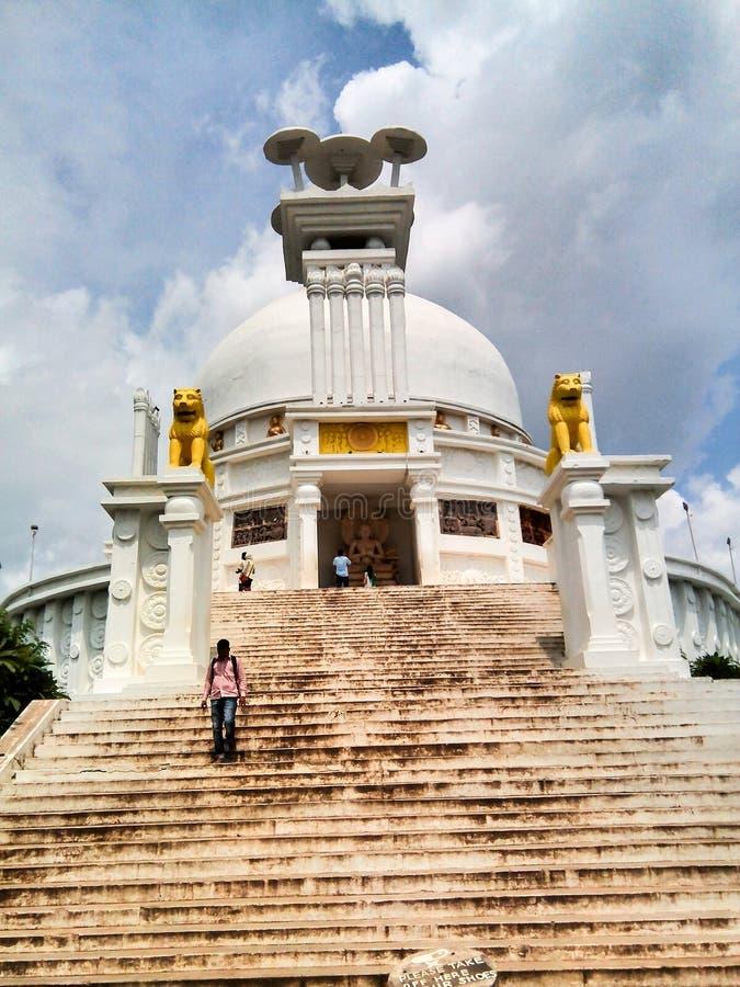 Shanti Stupa布巴内斯瓦尔 免版税库存照片