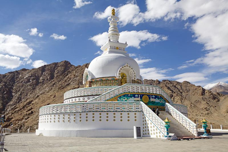 Shanti Stupa,拉达克,印度 免版税库存图片