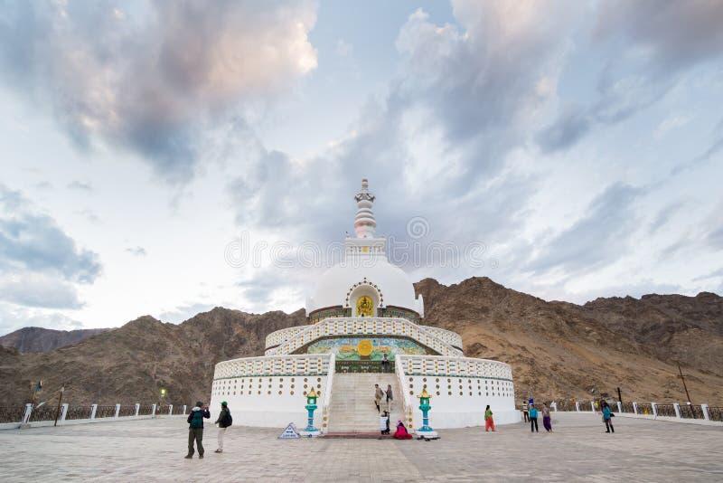 Shanti Stupa, Leh拉达克 库存照片