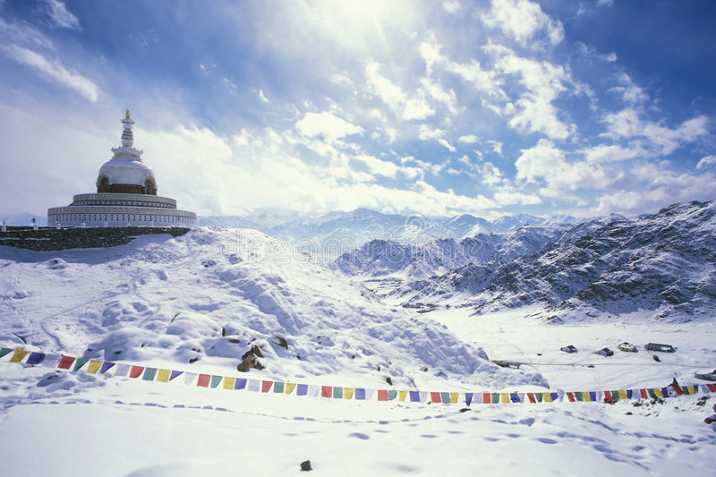 Shanti Stupa. Leh, Ladakh, India royalty free stock photography