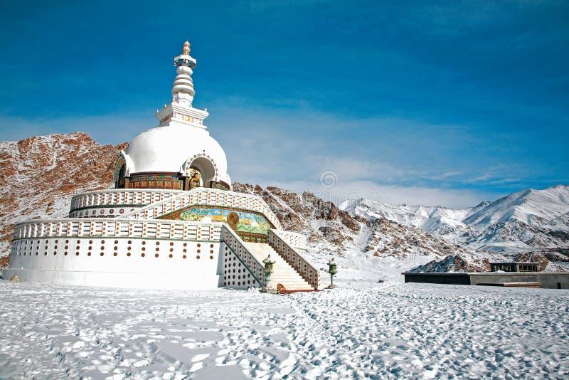 Shanti Stupa also called Japanese Stupa in winter, Leh-Ladakh, Jammu and Kashmir, India royalty free stock photo