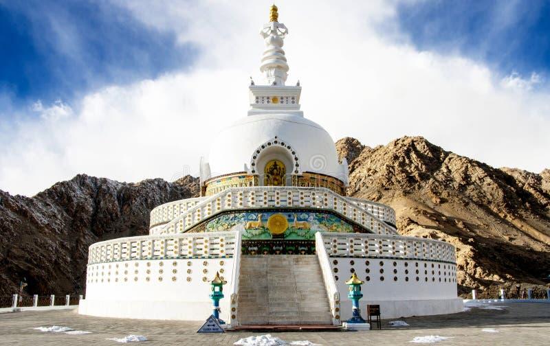 Shanti Stupa, Leh Ladakh, India stock photo