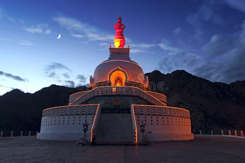 Shanti Stupa, Leh, Ladakh, India immagini stock libere da diritti